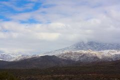Snow Covered Mountains along Arizona Highway 87 royalty free stock images
