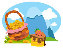 Snow-covered mountains, basket of gold coins, cake. Royalty Free Stock Images