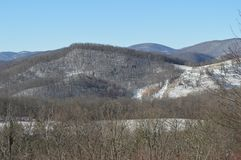 The snow covered mountains. In Boone, North Carolina after the first blizzard of the season Stock Image