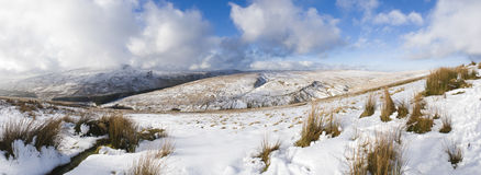 Snow covered mountains, Brecon Beacons, Wales, UK Stock Photos