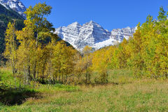 Snow covered mountains with colorful aspen during foliage season Royalty Free Stock Photography