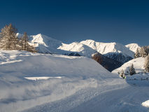 Snow-covered mountains in the Engadine Royalty Free Stock Photo