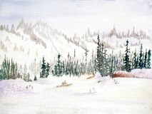 Snow-covered Mountains with Evergreen Trees - Watercolor royalty free stock image
