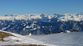 Snow covered mountains in Graubuenden Canton. Snow covered mountains, view from the Pizol ski area Stock Images