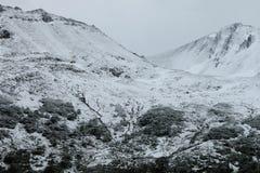 Snow covered mountains, Isla Navarino, Chile Stock Photos