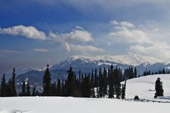 Snow covered mountains, Kashmir, Jammu And Kashmir, India Royalty Free Stock Image