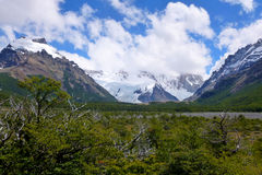 Snow-covered mountains in Los Glaciares national park. Scenic view of snow-covered mountains in Los Glaciares national park (laguna Capri trail). El Chalten Royalty Free Stock Photo
