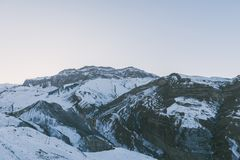 Snow covered mountains peaks, winter mountains. Landscape Stock Photography