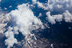 Snow-covered mountains of the plane. In Montenegro Royalty Free Stock Images