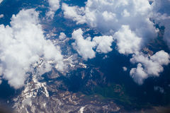 Snow-covered mountains of the plane. In Montenegro Stock Images