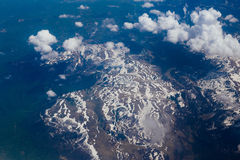 Snow-covered mountains of the plane. In Montenegro Stock Photo