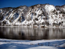 Snow-covered mountains reflected in the Yenisei R Stock Image
