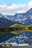 Mirror reflection of snow covered mountains ! Royalty Free Stock Photos