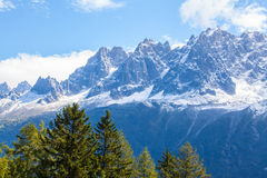 Snow covered mountains and rocky peaks in the Alps Royalty Free Stock Image