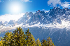 Snow covered mountains and rocky peaks in the French Alps Stock Photo