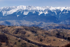 Snow covered mountains in Romania Stock Photo
