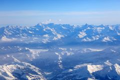 Aerial view of the Swiss Alps from plane Stock Photos