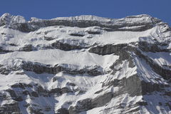 Snow covered mountains. In Switzerland during winter, from altitude Stock Images