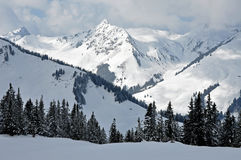 Snow covered mountains in Tirol Royalty Free Stock Photos