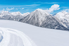Snow covered mountains in winter Royalty Free Stock Photography