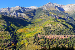 Snow covered mountains and yellow aspen Royalty Free Stock Photography