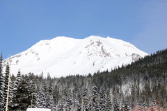 Snow covered Mt. Shasta Peak with human face Stock Photography