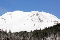 Snow covered Mt. Shasta Peak with human face Stock Photos