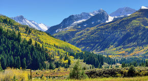 Snow covered Mt Sopris during foliage season in Colorado. View of the snow covered Mt Sopris during foliage season in Colorado Royalty Free Stock Images