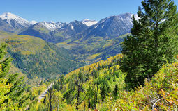 Snow covered Mt Sopris during foliage season in Colorado. View of the snow covered Mt Sopris during foliage season in Colorado Royalty Free Stock Photos