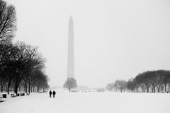 Snow Covered National Mall and Washington Monument Stock Photos