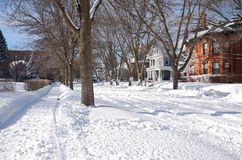 Snow Covered Neighborhood in Summit University Royalty Free Stock Image
