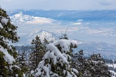 Snow-covered Okanagan Valley and West Kelowna from above royalty free stock image