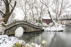 Snow covered old bridge and pavilion Royalty Free Stock Image