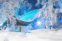 Snow-covered open-air theater. In Mariinsky Park in Kiev Royalty Free Stock Images