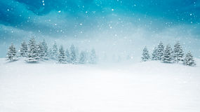 Snow covered open winter landscape at snowfall vector illustration