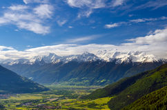 Snow covered Ortler mountains in spring Royalty Free Stock Image