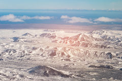 Snow covered over mountain aerial view in Iceland Royalty Free Stock Photos