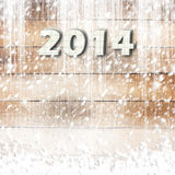 Snow-covered Paper numbers of new 2014 Royalty Free Stock Image