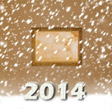 Snow-covered Paper numbers of new 2014. With confetti on an abstract background stock illustration