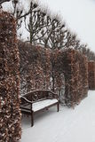 Snow covered park bench. Scenic view of snow covered park bench with hedge and trees in background stock photo