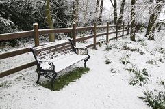 Snow covered park bench. Royalty Free Stock Images