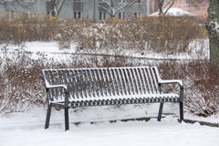 Snow covered park bench Stock Photography