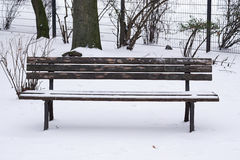 Snow covered park bench Stock Photos