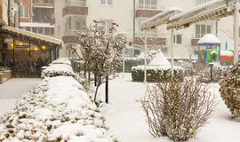 Snow-covered park near a cafe in Pomorie, Bulgaria, 31 december Stock Image