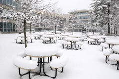 Snow Covered Patio Stock Photography