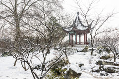 Snow covered pavilion stock image