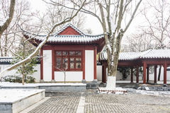 Snow covered pavilion stock photos