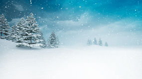 Snow covered peaceful winter landscape at snowfall. Several trees covered under snow 3D illustration Stock Photo