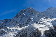 Snow-covered peak Aletschhorn Stock Photo