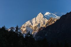 Annapurna II snow peak at sunrise. stock photography
